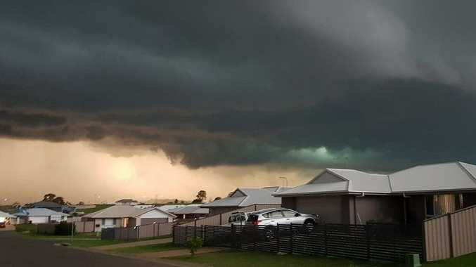 Chlo Fidler shared a photo of a rare green sky over Gracemere at 5.45pm Monday.