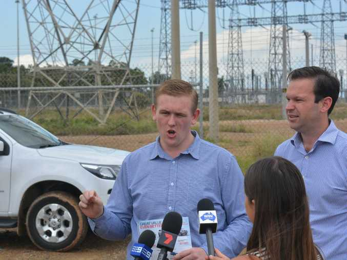 LNP candidate for Gladstone, Chay Conaglen with senator Matt Canavan at the Gladstone Power Station.