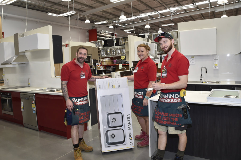 Bunnings nears completon, ready for the opening next week, from left; Eugene Wild, Kara Dolley and Peter White. October 2017