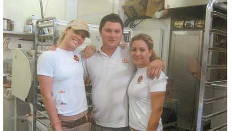 Emmalise, Nathan and Suzie on the day Nathan and Suzie sold the bakery to Keverne and Nerida.