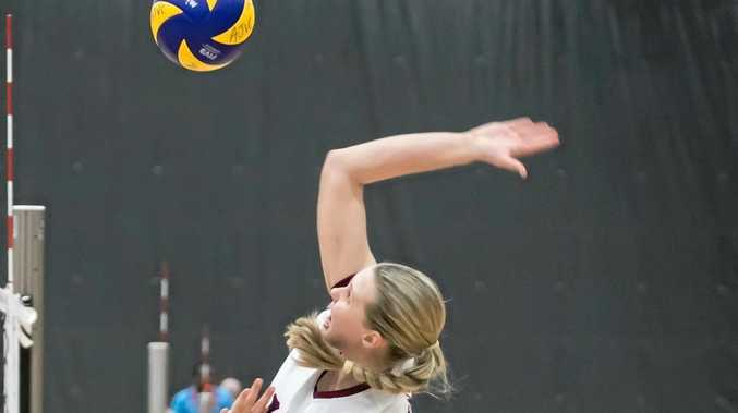 Harristown State High School student Sophie Thornton playing for U17 Queensland team which won Gold at the Australian Junior Volleyball Championships.