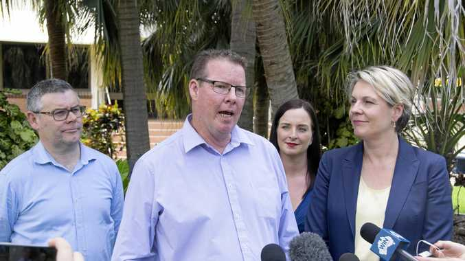 Queensland Senator Murray Watt (left), Rockhampton candidate Barry O'Rourke, Keppel MP Brittany Lauga and acting opposition leader Tanya Plibersek at CQUniversity to kick off the Queensland election campaign.