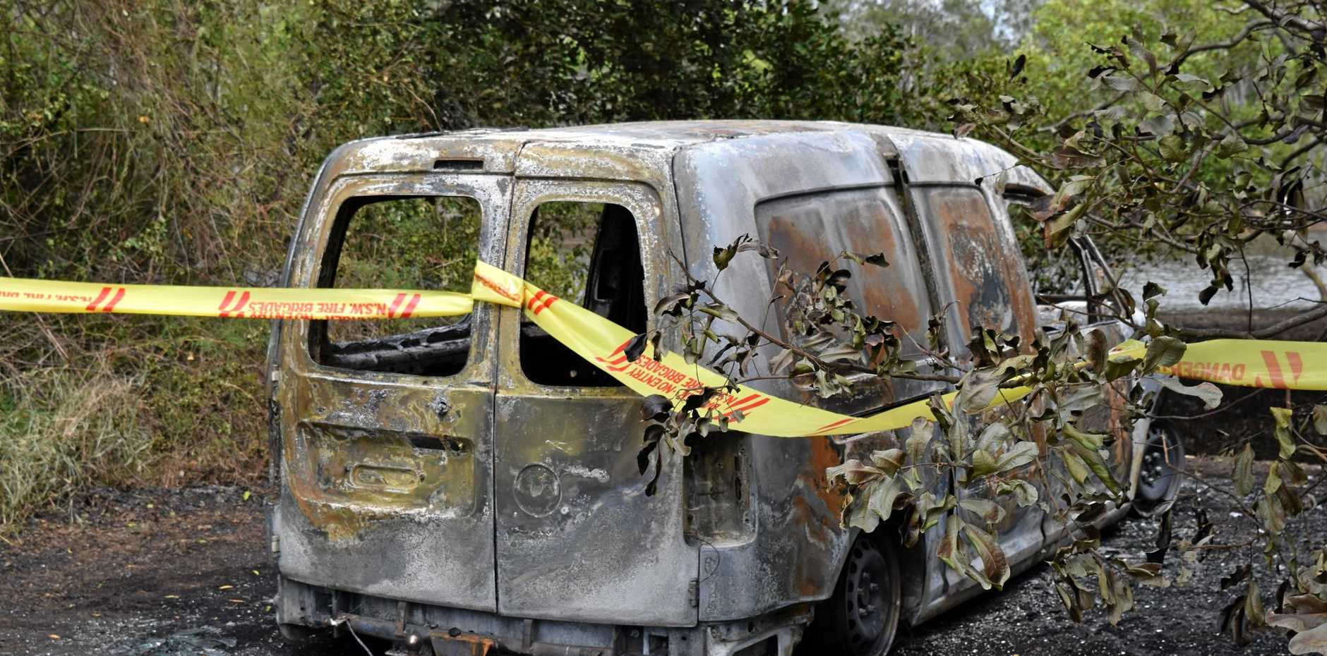 The charred remains of Chris Cook's van at Bagot Park.  The van and disability scooter inside were stolen and set alight in the early hours of Tuesday, October 31.