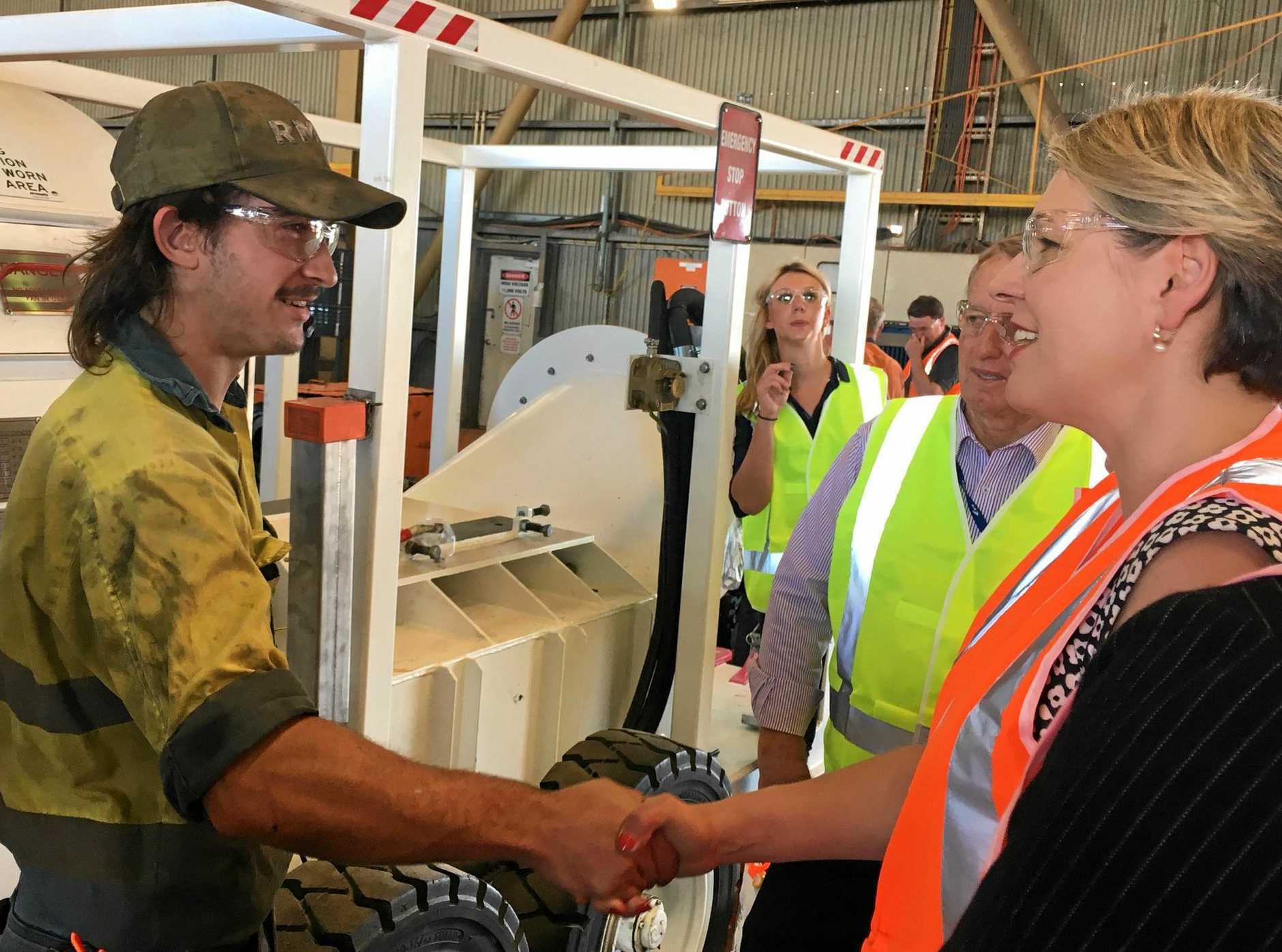 Acting Leader of the Opposition, Tanya Plibersek with a local apprentice.