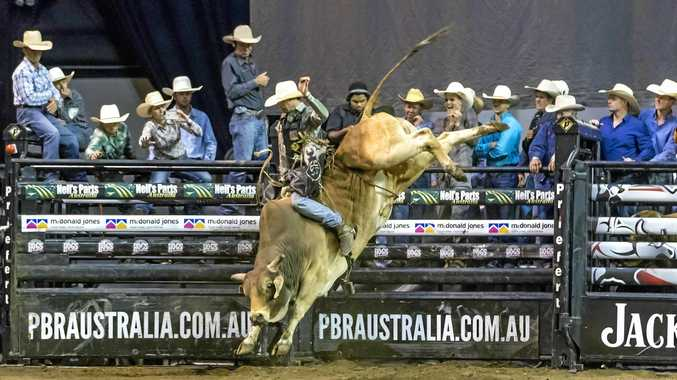 RIDING HARD: Fraser Babbington on High Flying Akubra for 88 points in the championship round at the PBR Newcastle Invitational.