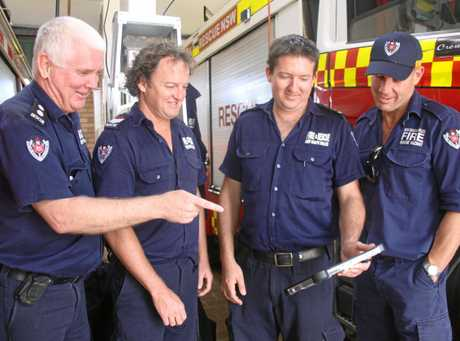 ONE STOP SHOP: Lismore's Fire & Rescue crews including Station Officer David Mooney, Senior Firefighter Tommy Day, Leading Firefighter Adam Cormick and Senior Firefighter Scott Peterson, are using new technology with a mobile data terminal giving them critical live information when responding to emergencies.