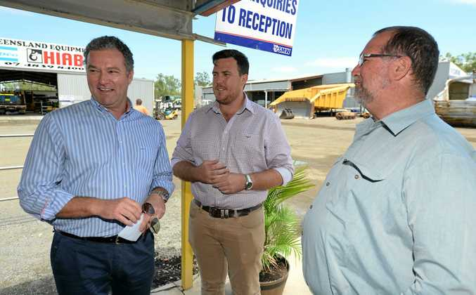 LNP Spokesperson for Health, John-Paul Langbroek in Rockhampton talking about the LNP's plan to cut Payroll Tax should it win the next Queensland election, pictured with local candidates Douglas Rodgers and Peter Blundell.