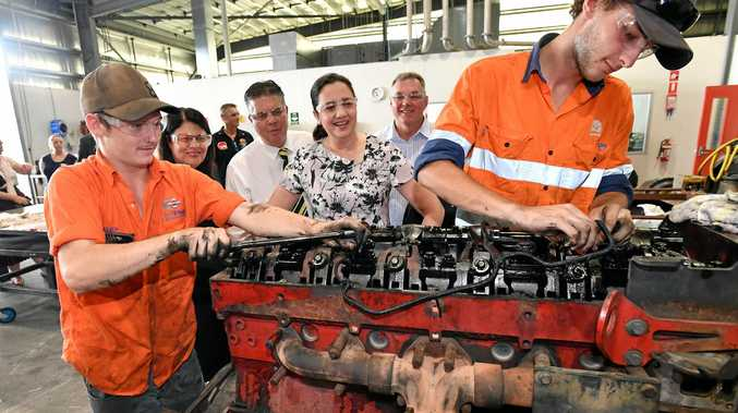 ASSEMBLY LINE: Premier Annastacia Palaszczuk (centre) speaks to trainees at the Townsville Trade Training Centre, where she announced regional employers would receive up to $20,000 in support payments for every eligible job seeker they recruit.