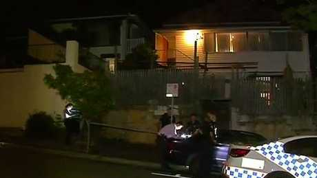 Police at the scene of an alleged shooting at a Wooloongabba house. Picture: 9 News Queensland