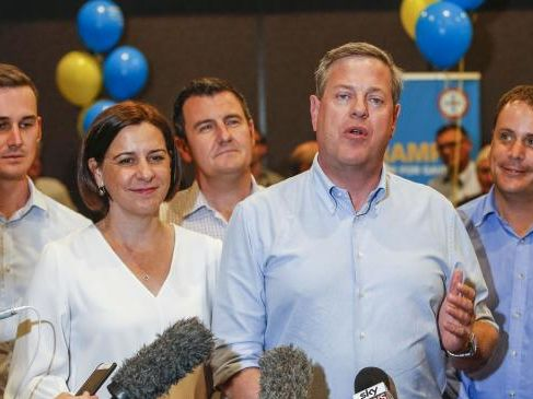 Queensland LNP leader Tim Nicholls (2nd from right) speaks to media at a doorstop during a visit to a small business forum at Nerang RSL along with, (L-R) LNP candidate for Bonney Sam O'Connor, deputy leader Deb Frecklington, LNP member Sid Cramp and LNP candidate for Theodore Mark Boothman.