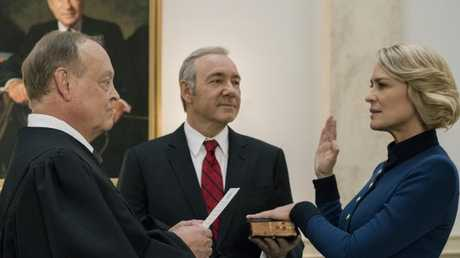 House Of Cards: Robin Wright as Claire Underwood and right Kevin Spacey as Frank Underwood.