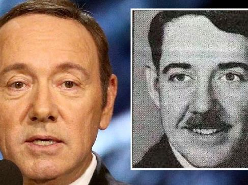 Kevin Spacey and, inset, his late father.