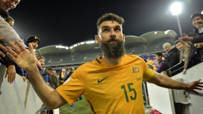 Socceroo Mile Jedinak after the 2018 FIFA World Cup Asian qualifier between Australia and Saudi Arabia at the Adelaide Oval in June 8.