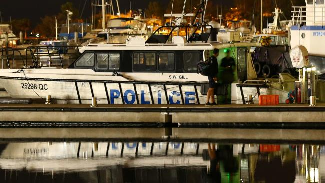 Police vessel S.W.Gill arrives in Gladstone Marina after police divers recovered two bodies from the sunken fishing boat Dianne. Photographer: Liam Kidston.