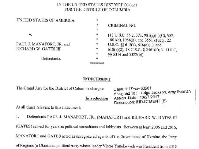 The indictment against Paul Manafort and Rick Gates.