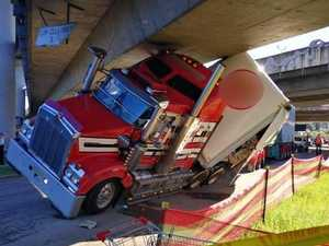 Overheight truck causes M1 chaos
