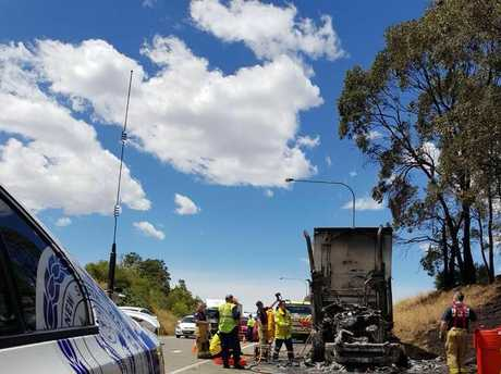 Emergency services found the cabin of the truck well alight.