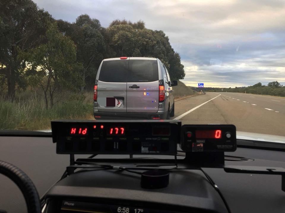 The speeding van was clocked at 177 Km/h.