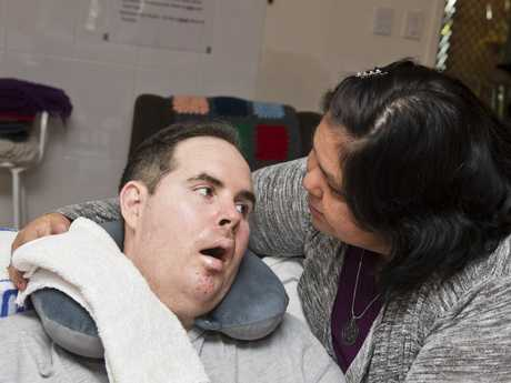 Christine and Shane Matveyeff. Shane lives with Locked-in Syndrome. Wednesday, 1st Nov, 2017.