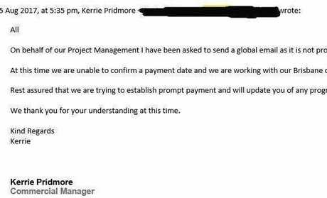 Emails leaked to the Northern Star by an unpaid subbie from the Tyndale to Glenugie section of the Pacific Highway reveal the long battle to be paid by Ostwald Bros, now in voluntary administration.