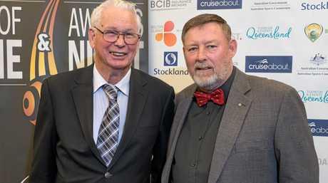 LOCAL DUO: Rockhampton Bowls Club secretary Bernie Gottke (left) and chairman Peter Tyler at the Bowls Australia awards night.