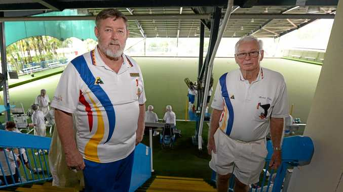 Rockhampton Bowls Club chairman Peter Tyler (left) and Bernie Gottke are excited that their club finished runner-up in the Bowls Australia Club of the Year award.