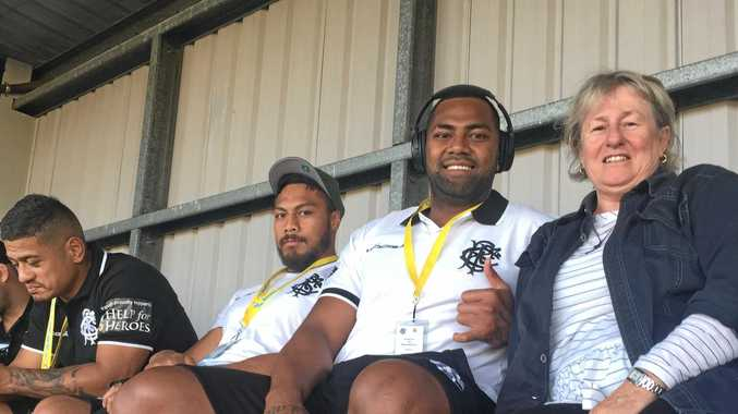 RUBBING SHOULDERS: Dr Airdre Grant with Tagele Naiyaravoro at the Barbarians v Classic Wallabies match in Lismore.