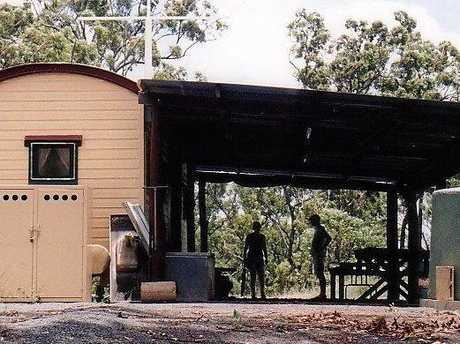 The first building constructed at Cockscomb Bush Retreat with the help of Rockhampton psychologist Bruce Acutt.
