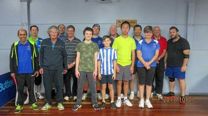 TABLE TENNIS: Bond of Friendship players (front, from left) Rabi Misra, Warren Reithmuller, Leo Cooper-Arday, Will Arday, Shane Chen, Leonie Cook and (back) Alan Chen, Michael Golding, Bruce Gillbard, Brett Stahlhut, Neil Sheriff, Zhongwei Zhang, Lee Wellington and Steve Saunders.