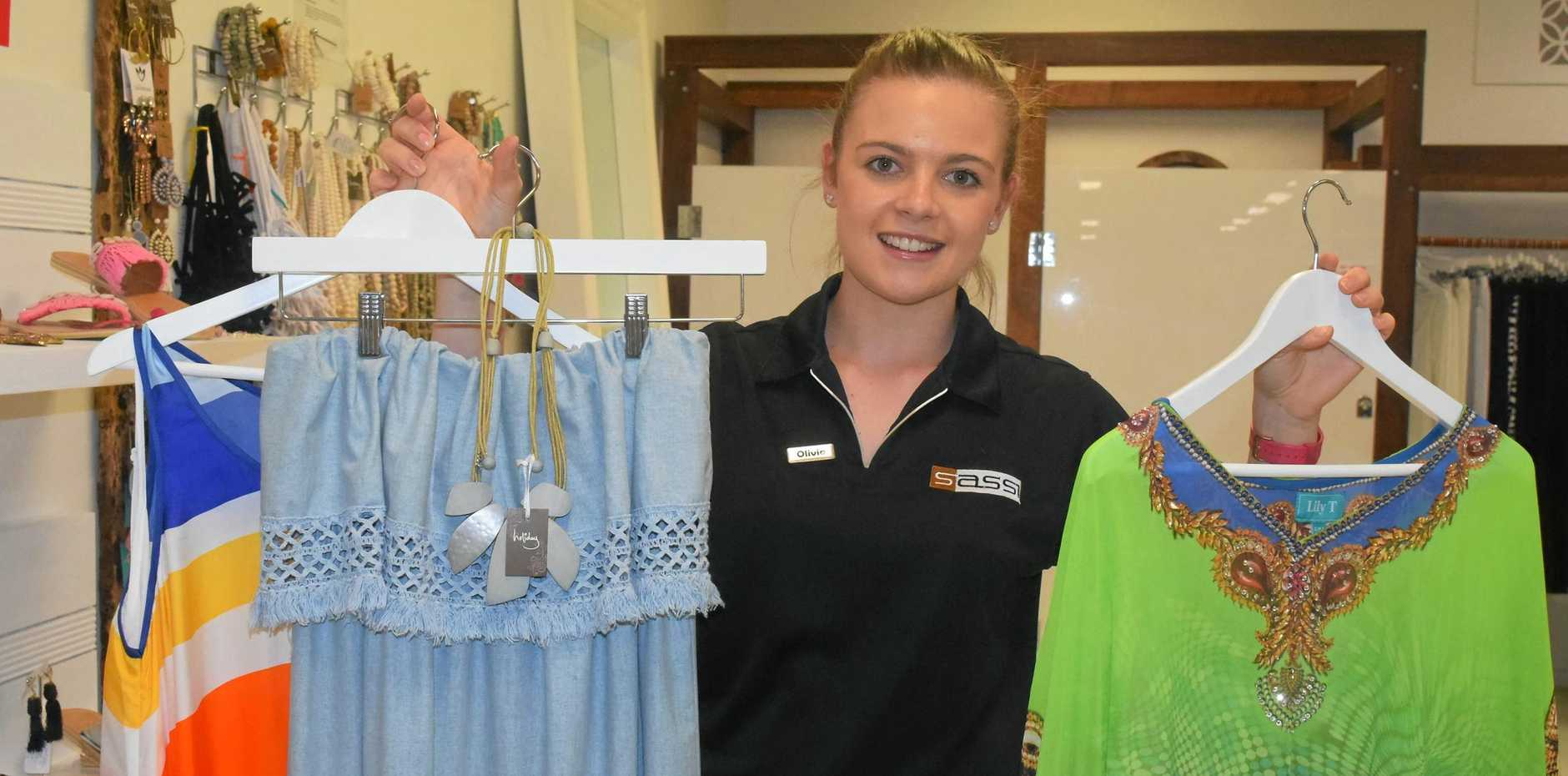 NEW THREADS: Sassi J Fashion saleswoman Olivia Radford shows off some latest pieces from the range.
