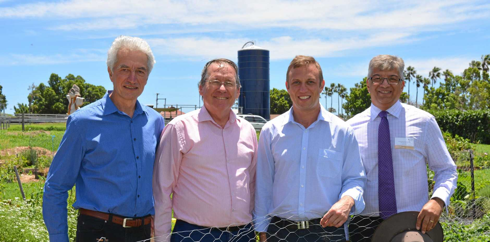 VALUABLE RESEARCH: UQ's Centre for Recycling of Oragnic Wastes and Nutrients (CROWN) director Johannes Biala, Member for Ipswich West Jim Madden, Environment Minister Steven Miles and Deputy Head of the School of Agriculture and Food Sciences Victor Galea.