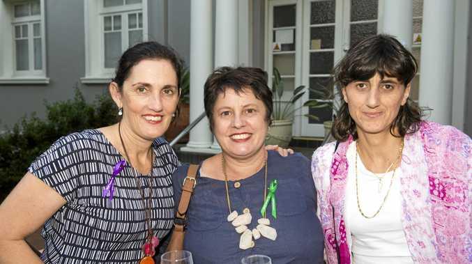 All smiles are (from left) Angela Travers, Geraldine Sevil and Mirna Sleba.