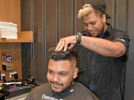 Tommy Gun's Cuts For Nuts Day. Barber Danny Solvalu with Thareek Sourjah.