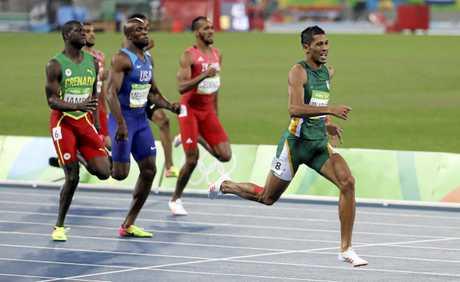 Wayde Van Niekerk leads the way in the men's 400m final at the 2016 Olympic Games in Brazil.