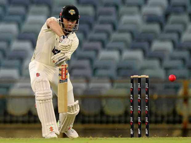 Shaun Marsh plays a shot during Western Australia's Sheffield Shield clash against Tasmania.