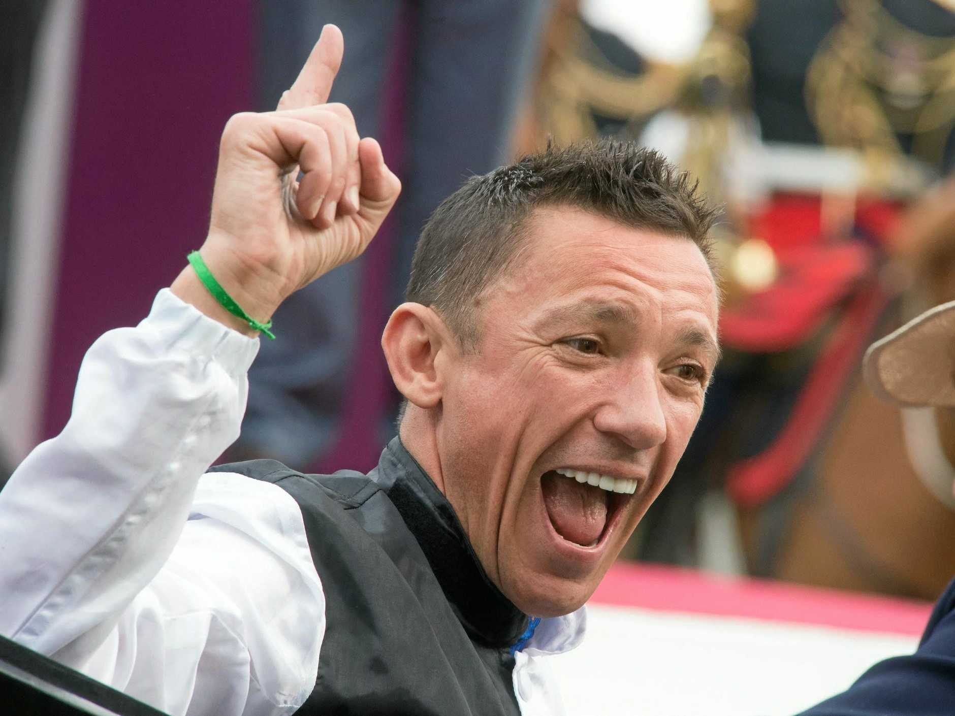 FRANCE, Paris: Italian jockey Lanfranco Dettori riding Golden Horn horse celebrates his victory at 94th Qatar Prix de l'Arc de Triomphe equestrian race held at Longchamp racecourse in Paris, on October 4, 2015. (AAP Image/NEWZULU/FRANCOIS PAULETTO). NO ARCHIVING, CROWD SOURCED CONTENT, EDITORIAL USE ONLY