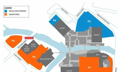 The paid parking areas (shaded orange) and the regulated parking areas (blue) at the Sunshine Plaza.