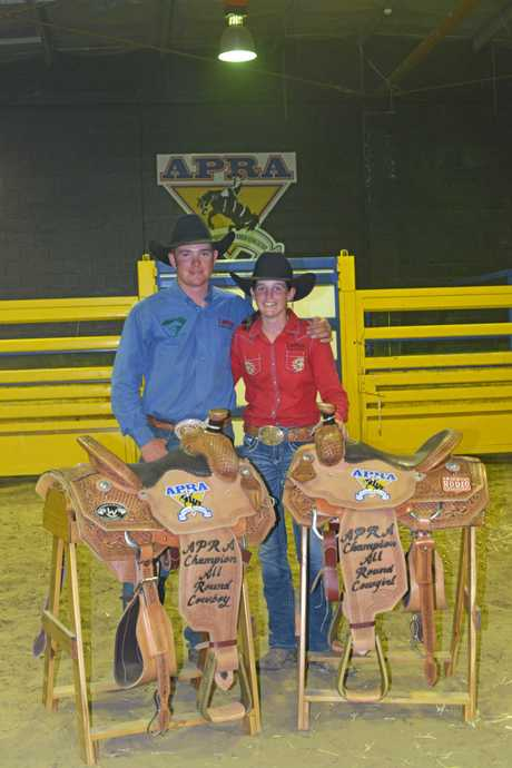 The 2017 all around Australian cowboy and cowgirl winners, Campbell Hodson and Ellysa Kenny.