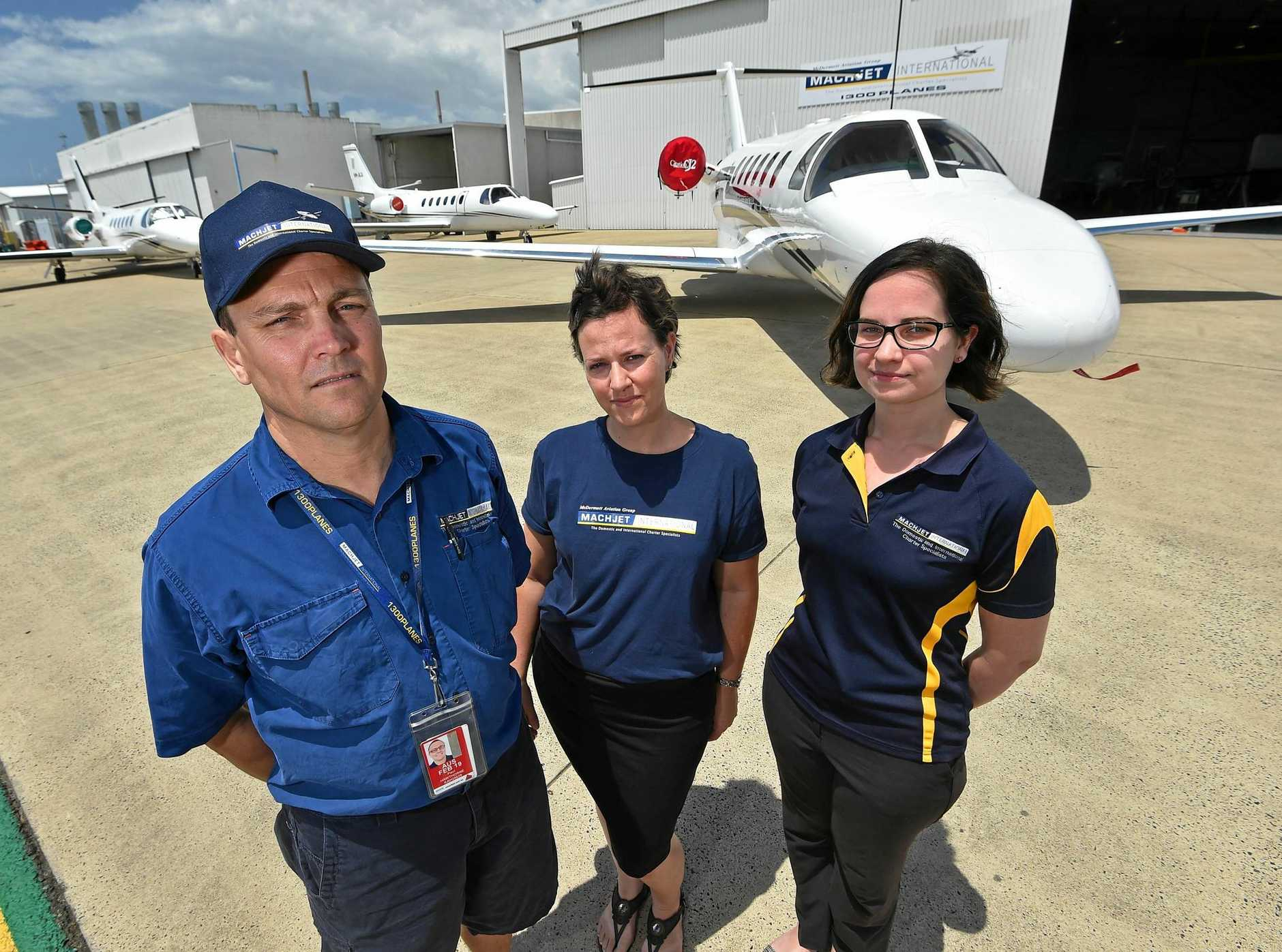 McDERMOTT Aviation senior engineer Paul Hawthorne with technical records assistant Rochelle Cooper and operations coordinator Jesse Wilson have planes on standby to get politicians on the campaign trail.