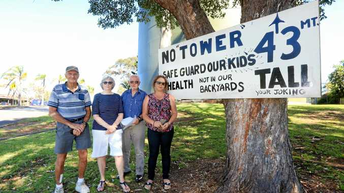 RISKY: Residents Barry Willis, Virginia Browne, Ray Browne and Simone Smith are concerned about a proposed telecommunications tower.