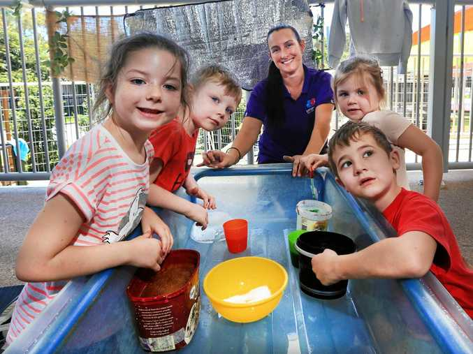 PLAY TIME: Emily, William, Miss Michelle, Sage and Cody having some fun at Offspring Early Learning Centre, Chinderah.