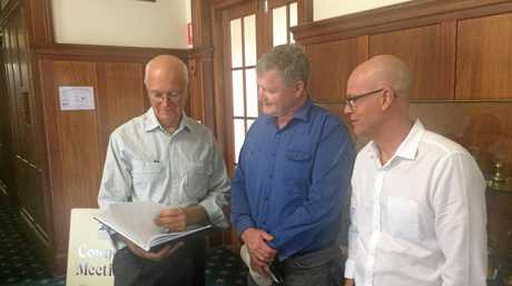 POWER FARMING: Lower Wonga solar farm proponents Alex Armstrong, Scott Armstrong and Stuart Border were on full power after Gympie Regional Council's