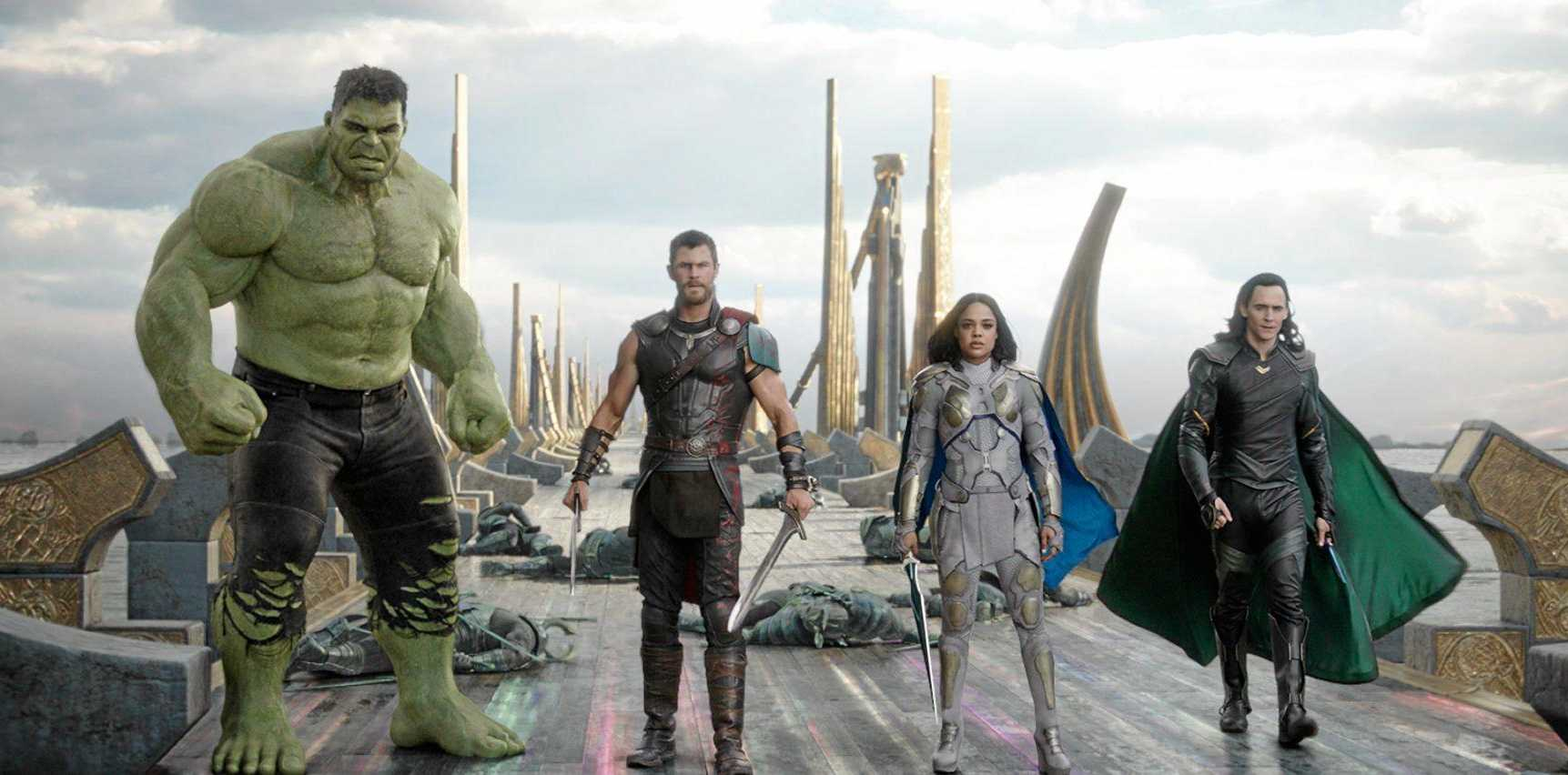 Mark Ruffalo (as Hulk), Chris Hemsworth, Tessa Thompson and Tom Hiddleston in a scene from the movie Thor: Ragnarok.  Supplied by Marvel.