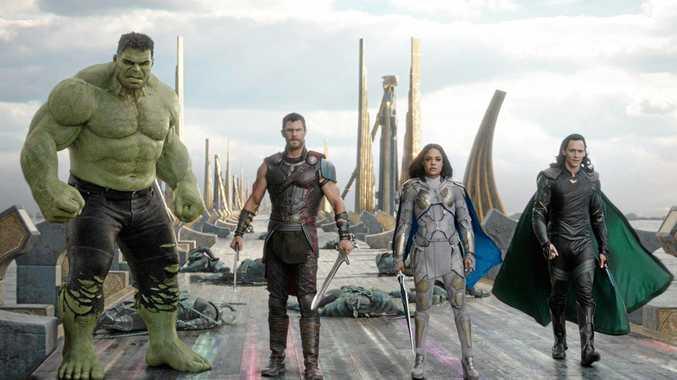 Mark Ruffalo (as Hulk), Chris Hemsworth, Tessa Thompson and Tom Hiddleston in a scene from the movie Thor: Ragnarok.  Supplied by Marvel.