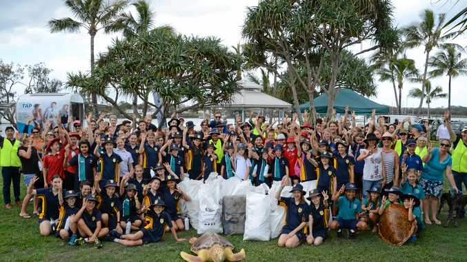 More than 200 Sunshine Coast school students joined conservation volunteers and local turtle experts to collect 200kg of rubbish at Northshore Beach in just one hour yesterday ahead of the annual turtle nesting season.