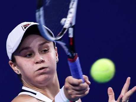 Ash Barty on her way to beating Anastasia Pavlyuchenkova in the WTA Elite Trophy tournament.