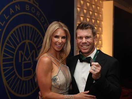 (L-R) Candice and David Warner during the 2017 Allan Border Medal ceremony. Picture: Brett Costello