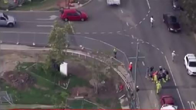 A cyclist has been hit by a car at Indooroopilly in Brisbane's west. Picture: 7 News Brisbane