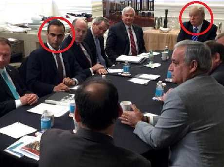 George Papadopoulos and Donald Trump together at a national security meeting in 2016, while Mr Trump was still a candidate for president.