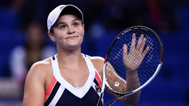 Ash Barty during her win over Anastasia Pavlyuchenkova in the WTA Elite Trophy tournament.